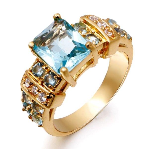 Female sapphire jewelry Woman Aquamarine Ring 18K Real