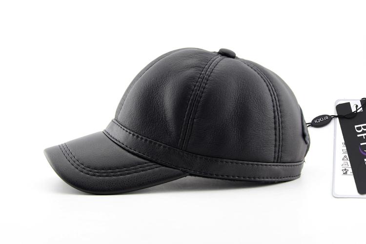 172f04ab7893d Bfdadi alta calidad Faux cuero genuino sombrero del invierno gorra de  béisbol sombrero de cuero ajustable para hombres negro sombreros envío  libreUSD ...