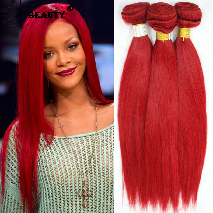 Red Remy Hair Weave  Triple Weft Hair Extensions