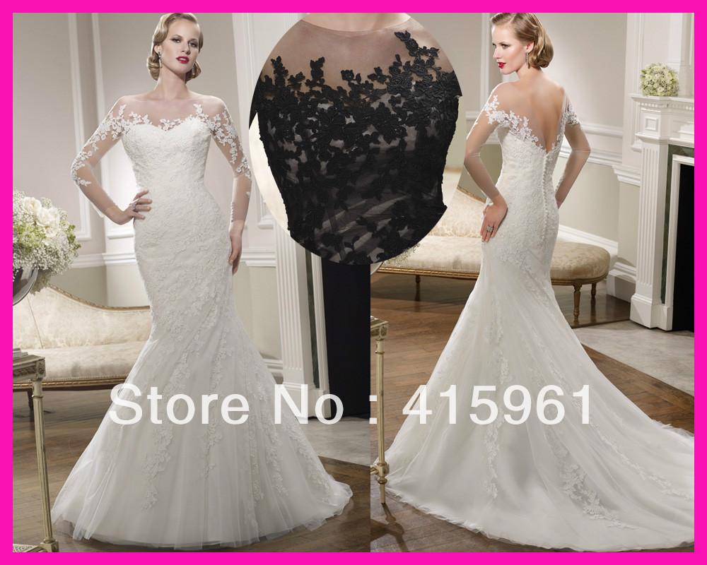 2014 Victorian Vintage Scoop Lace Mermaid Wedding Dresses