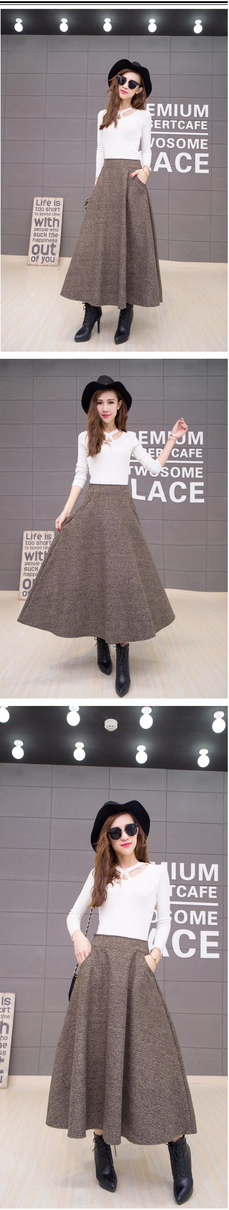 e5bca01f2fb 2017 Femmes Longue Vintage De Laine Jupes Automne Hiver Mode Épais De Laine Jupes  Plus La Taille A-ligne Casual Grande Balançoire saia longa