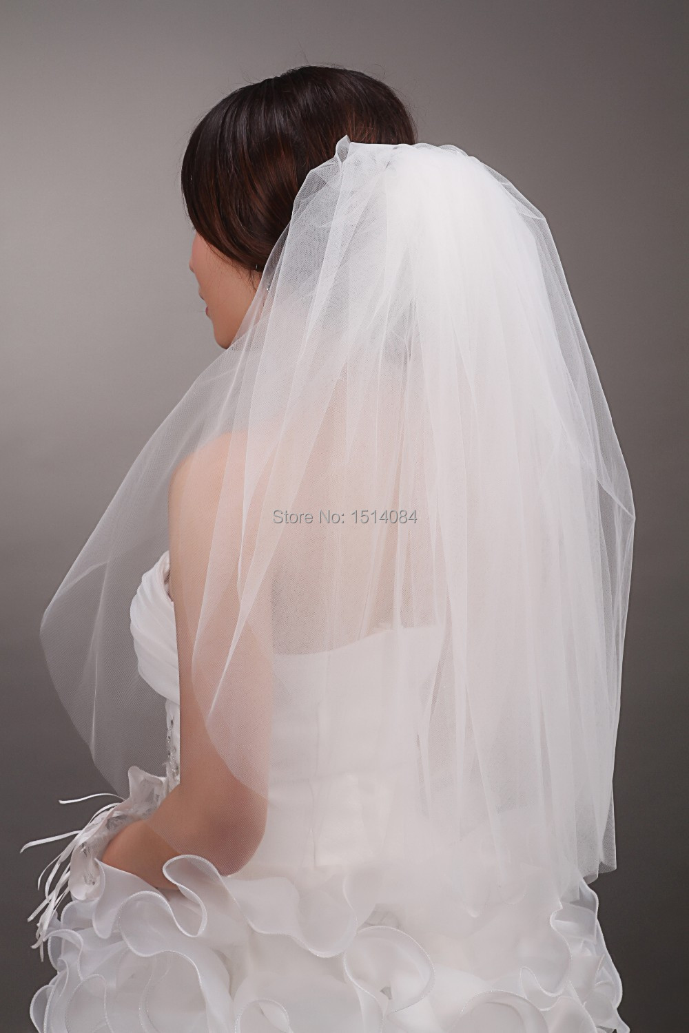 Free Shipping Hot Sale High Quality Cheap Wedding Veils WhiteIvory Two Layer Bridal Veils TS008