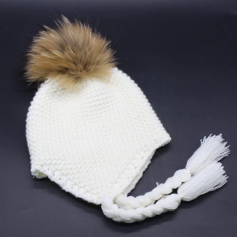 ̿̿̿(•̪ )Super lindo bomnber sombrero-torcedura trenzas oídos POM ...