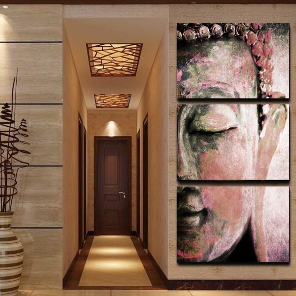ᑎ‰17 Panneau Mural Art Religion Bouddha Huile Style Peinture Sur