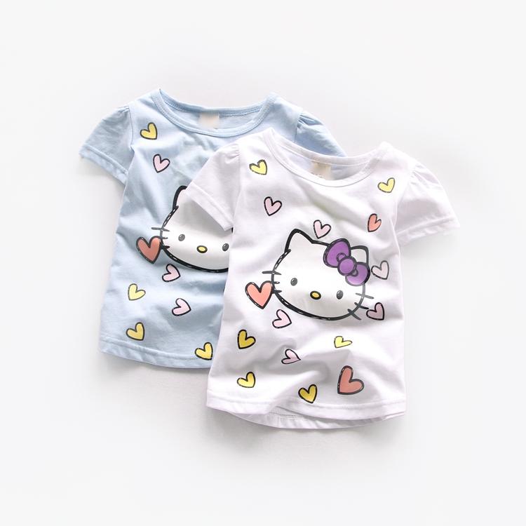 ᗑ】Niño verano Camisetas moda bebé Niñas gato de dibujos animados ...