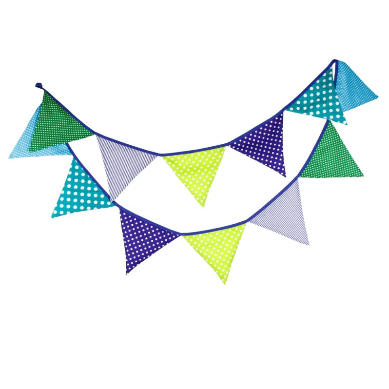 Wedding Decoration 3.2M 12 Flags Birthday Banners Baby Shower Party Supplies Cotton Fabric Banner Bunting Pennant