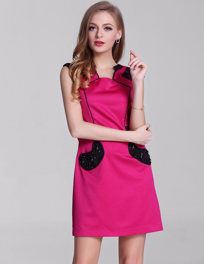 ⊰2017 bodycon vestido de moda elegante vestidos lindos del remiendo ...