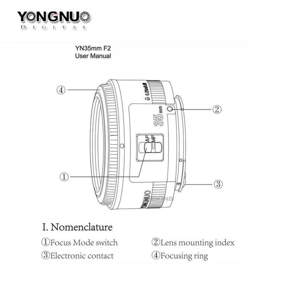 YONGNUO 35mm Lentille f2 YN35mm Grande Ouverture Auto
