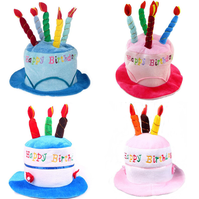 New Cute Birthday Cake Hat Kids Adults Cake Candle Cap Boys Girls