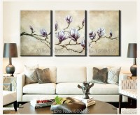 Hand Painted Modern Abstract 3PC White Purple Flower ...