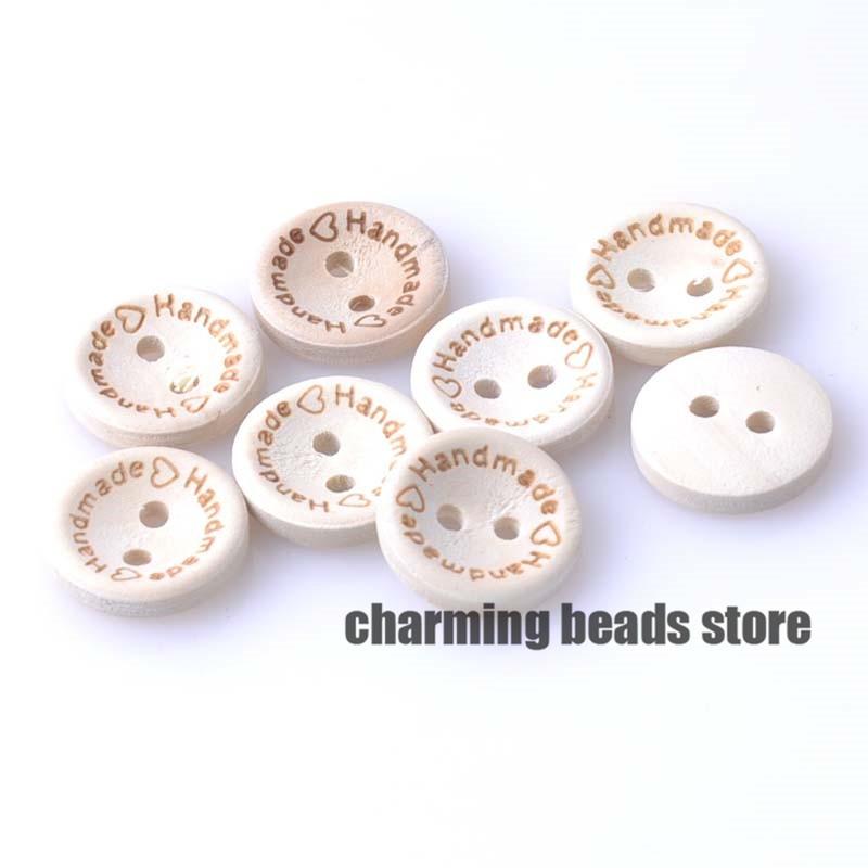 200 pieces en bois boutons forme ronde en bois fait main avec amour pour Artisanat...