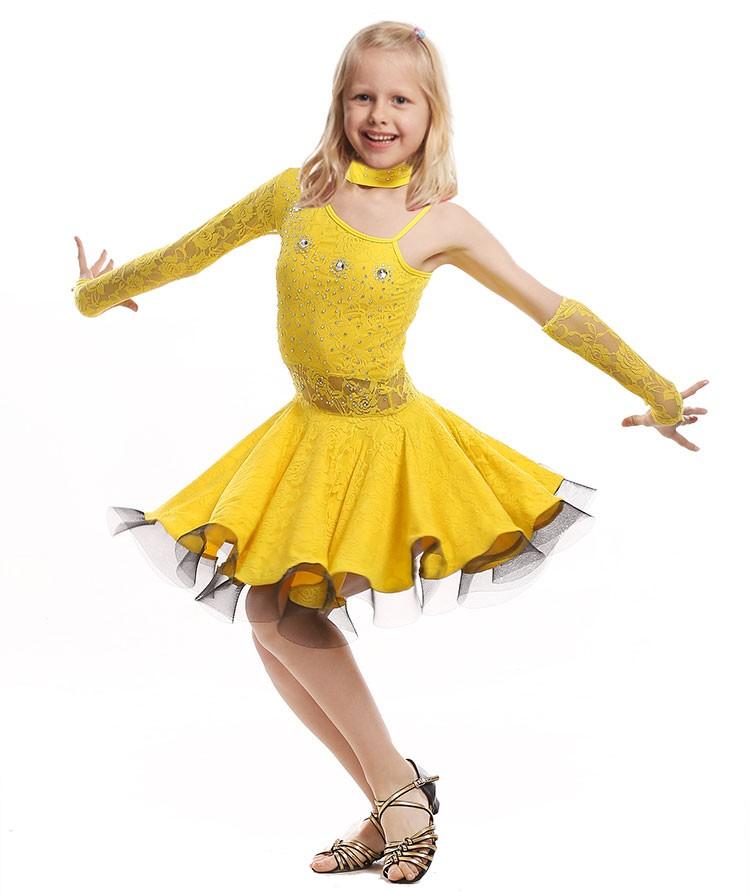 50cdfac0e1dbc 웃 유Lace Latin Dance Dress For Girls Samba Dress Ballroom Kids ...