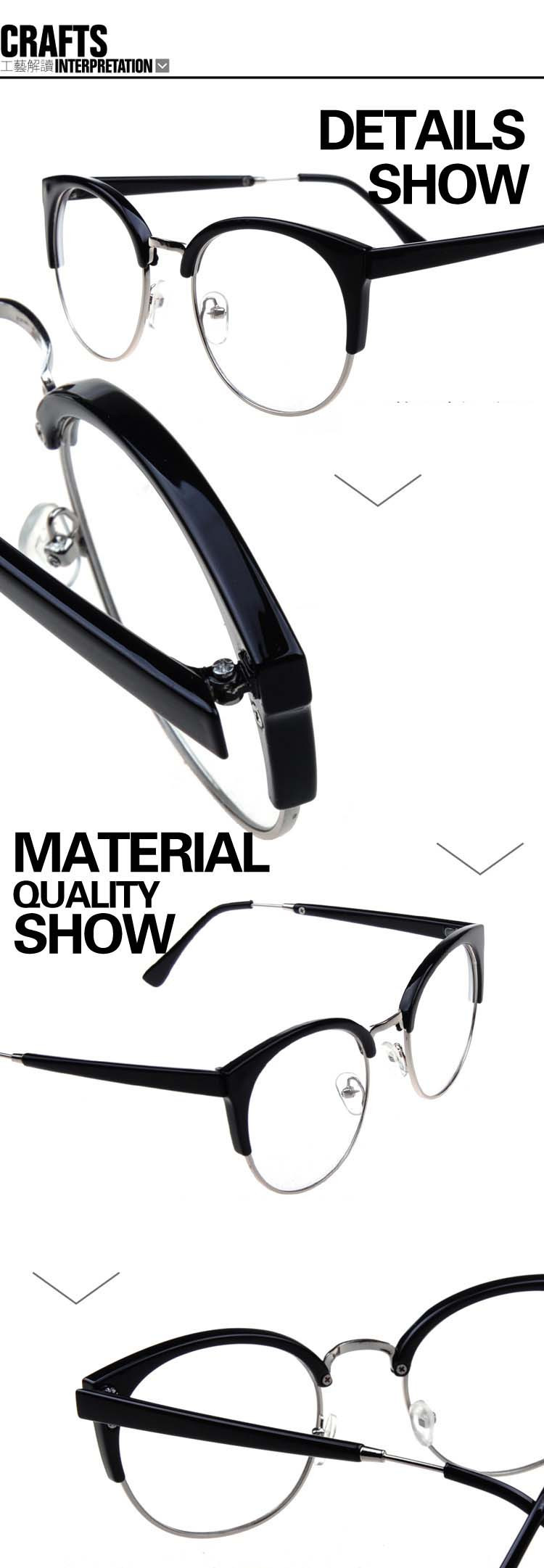 ᑎ‰Half-frame metal rim fashion cat eye glasses male and female ...