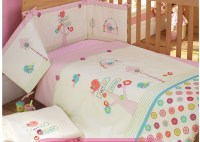 Pink 100% cotton Embroidery bird flowers baby bedding set ...