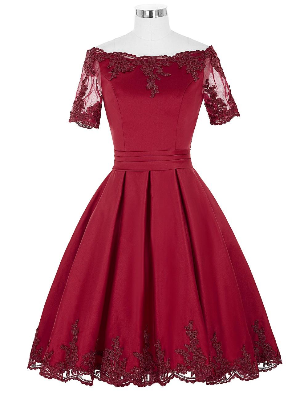 ᗖGrace Karin Champagne Dark Red Cocktail Dress Short Sleeve Satin ...
