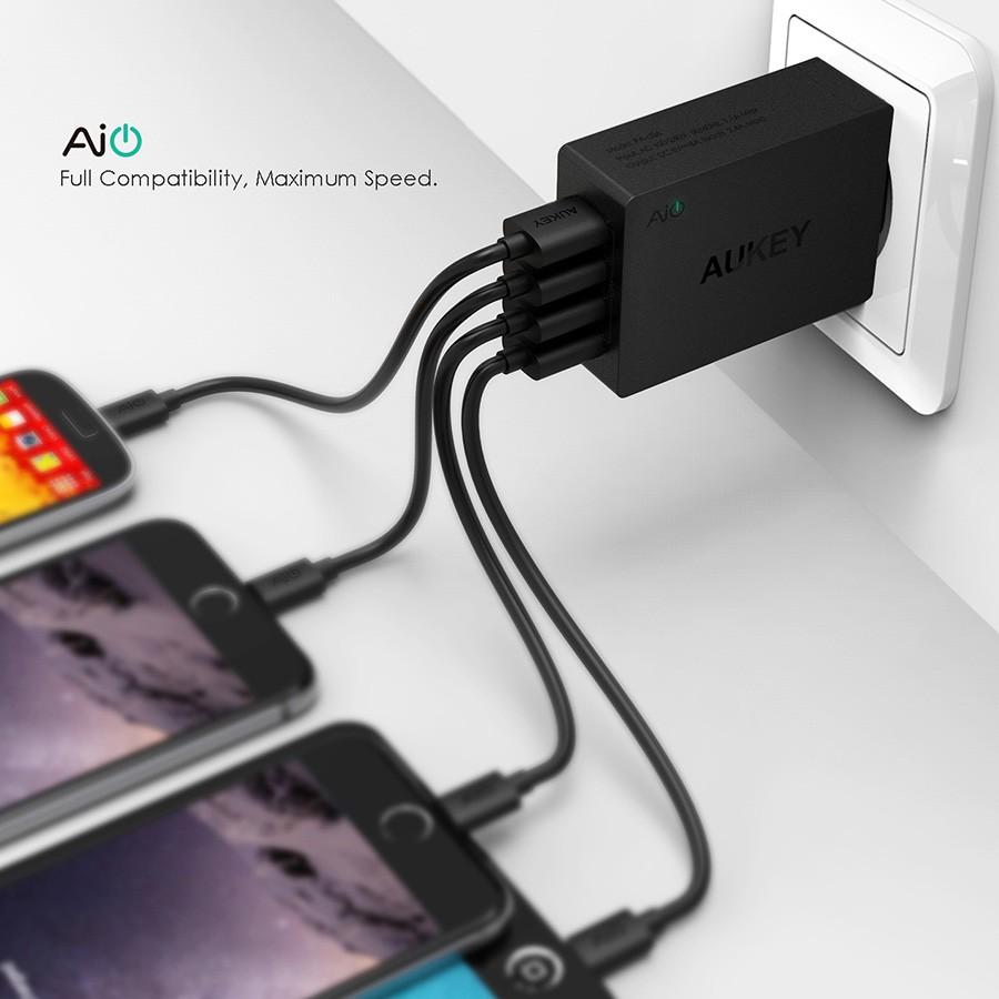 Aukey 40w/ 8A נסיעות USB מטען קיר מתאם עם (מתקפל תקע עם 4 יציאות)אנדרואיד אחרים USB מופעל על מכשירים ניידים
