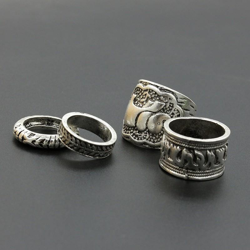 28a93ae15292 ツ)  ¯4 unids set 2018 Vintage Punk anillo de plata antiguo tallado ...