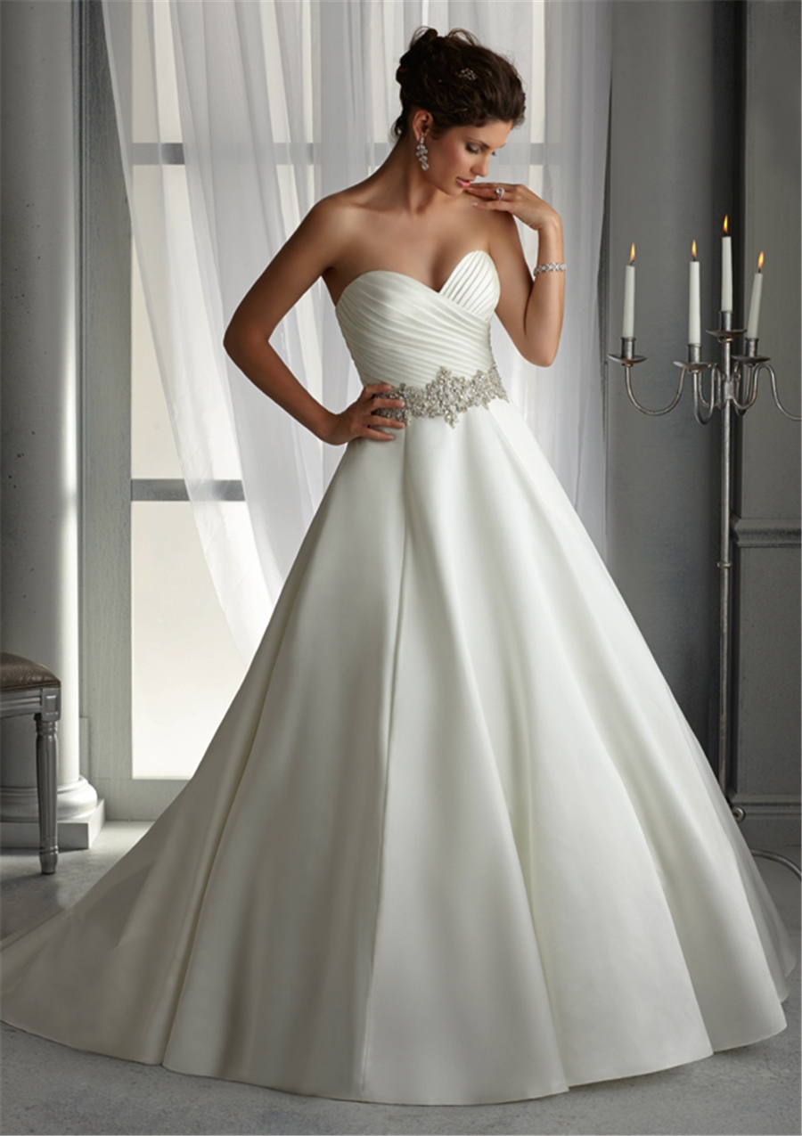 Plus size satin wedding dresses with pleating whiteivory 2015 cheap sweetheart formal bride