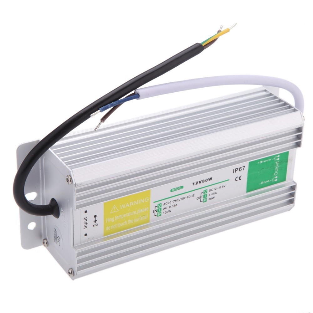 Metal Case Waterproof Ip67 Transformer Switch Power Supply 60w 80w Simplest Compact 1 Watt Led Driver Circuit At 220v 110v Mains Voltage Ac To Dc 12v Adapter For Strip Garden Lamp