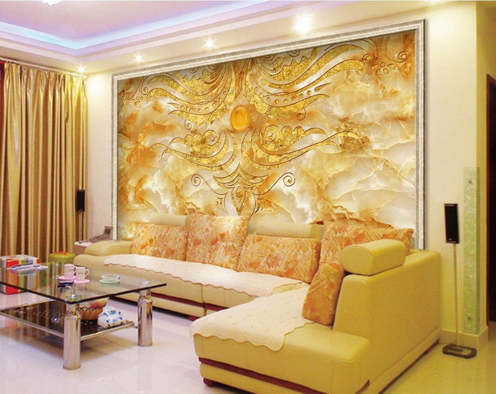 3d murals wallpaper for living room STONE marble backdrop gold ...