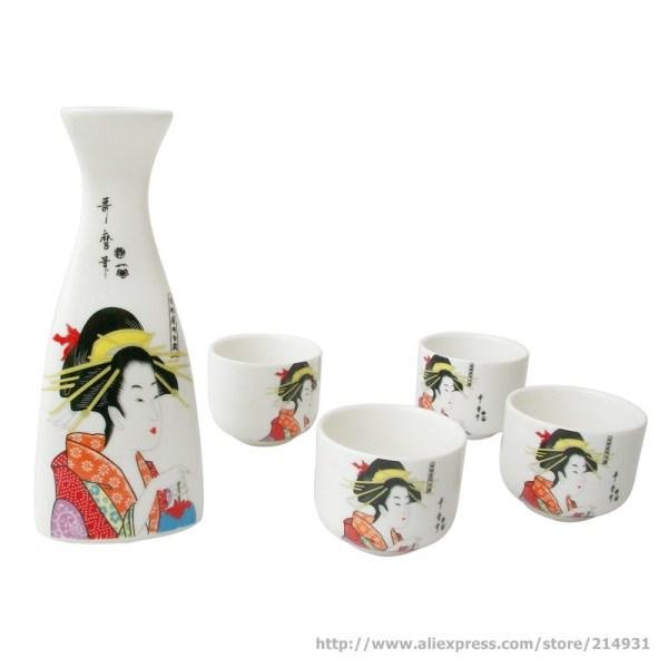 Japanese Porcelain Sake Set Bottle And Cup