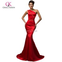 Sexy-One-Shoulder-Long-Red-Mermaid-Prom-Dresses-2015-For ...