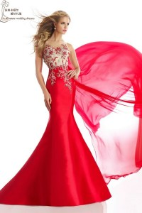 Long mermaid prom dresses 2015 PM1390 elegant red prom
