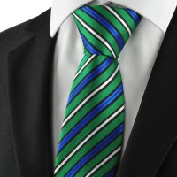 New Striped Green Blue White Mens Tie Necktie Formal ...