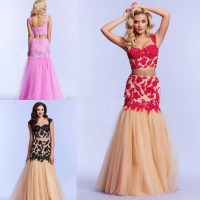 Red Fuschia sweetheart Beaded 2 Piece Mermaid Prom Dresses ...