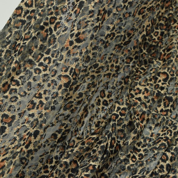 Black Leopard Print Lace Fabric