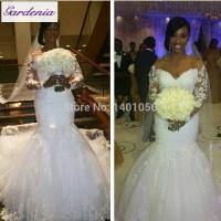 Real Customer Show Long Sleeve Satin Wedding Dress Mermaid ...