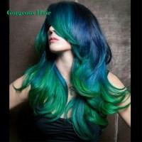 3 Tone Hair Color 1b Green Blue Weave Gorgeous Hair 4 ...