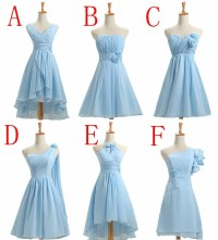 Knee length short light blue bridesmaid dress customize ...