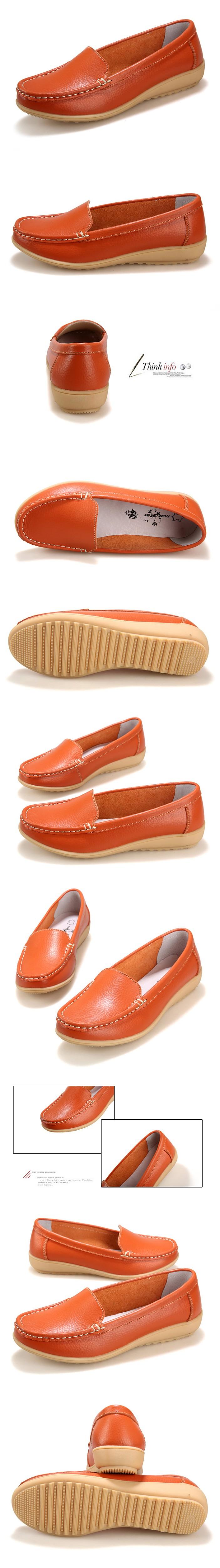 aa7dbcbf3 2016 Novos das Mulheres sapatos de Couro Genuíno Da Senhora de Couro liso Deslizar  sobre Mocassins sapatos casuais Preto Branco Vermelho tamanho 35-41 ...