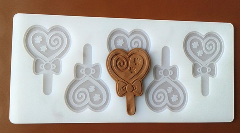 ᗐFXC022 encantadora Lollipop forma silicona chocolate molde ...
