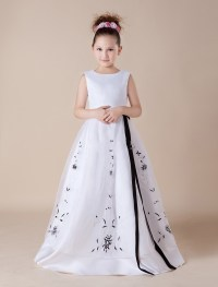 Long Ribbon Black Embroidery White Flower Girl Dresses For ...