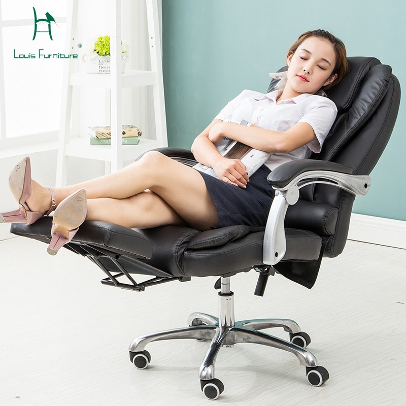 black leather office chair high back armless slipper louis luxury executive faux swivel recliner and footstool ...