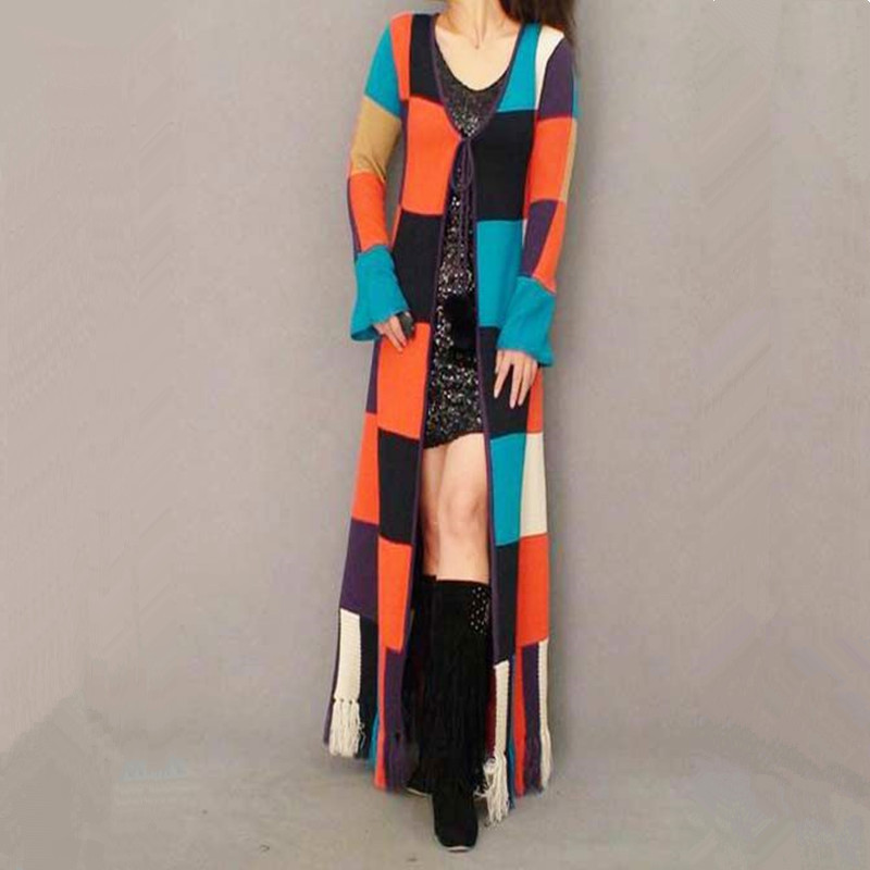 Free Shipping Fashion Long Floor Length Knitted Sweater
