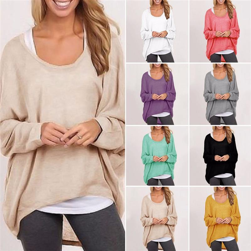 db2ce3121c5d Nº9 Colors Fashion Spring Autumn Women Blouse Pullover Batwing ...