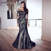 Elegant long black evening dress robe mermaid Prom Dresses ...