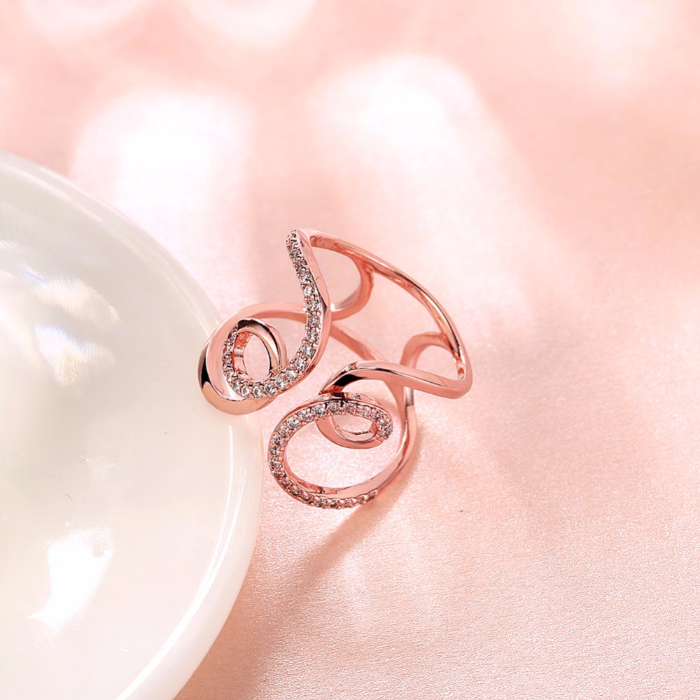 ᗗHigh Quality 2colors Full Cubic Zirconia Geometric Adjust Rings ...