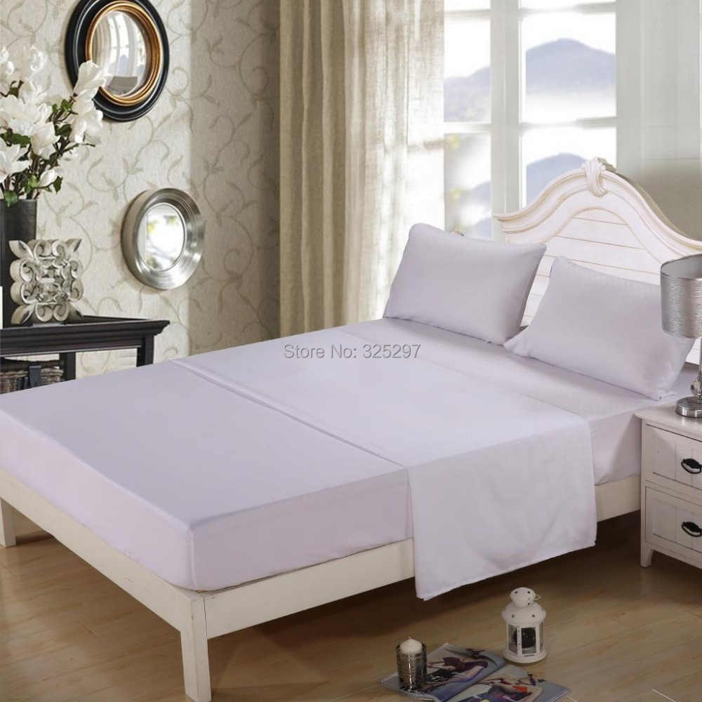 WHITE King Size Homehug Embossed 4Ps Bed Sheet Set 100 Soft Polyester WHITE King Sizein