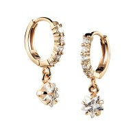 Women Crystal Earring Jewelry 18K Gold Plated Stud ...