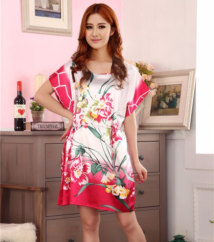 ④Summer Pink Chinese Women\'s Faux Silk Robe Dress Casual Bath Gown ...