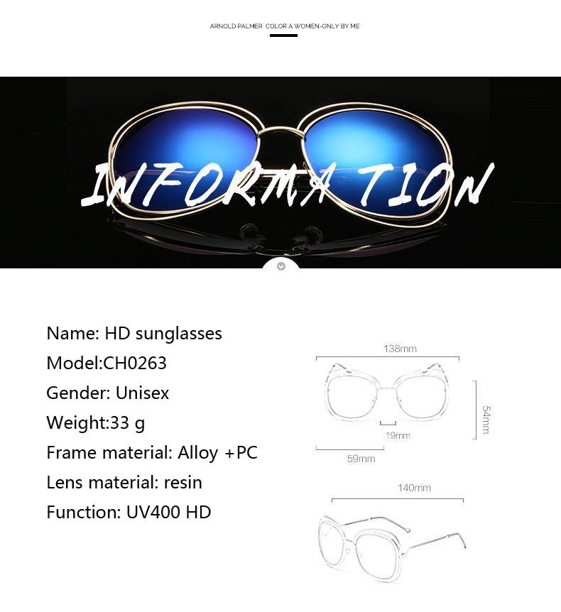 ᑐOhmida moda Gafas de sol metal clásico transparente Marcos grande ...