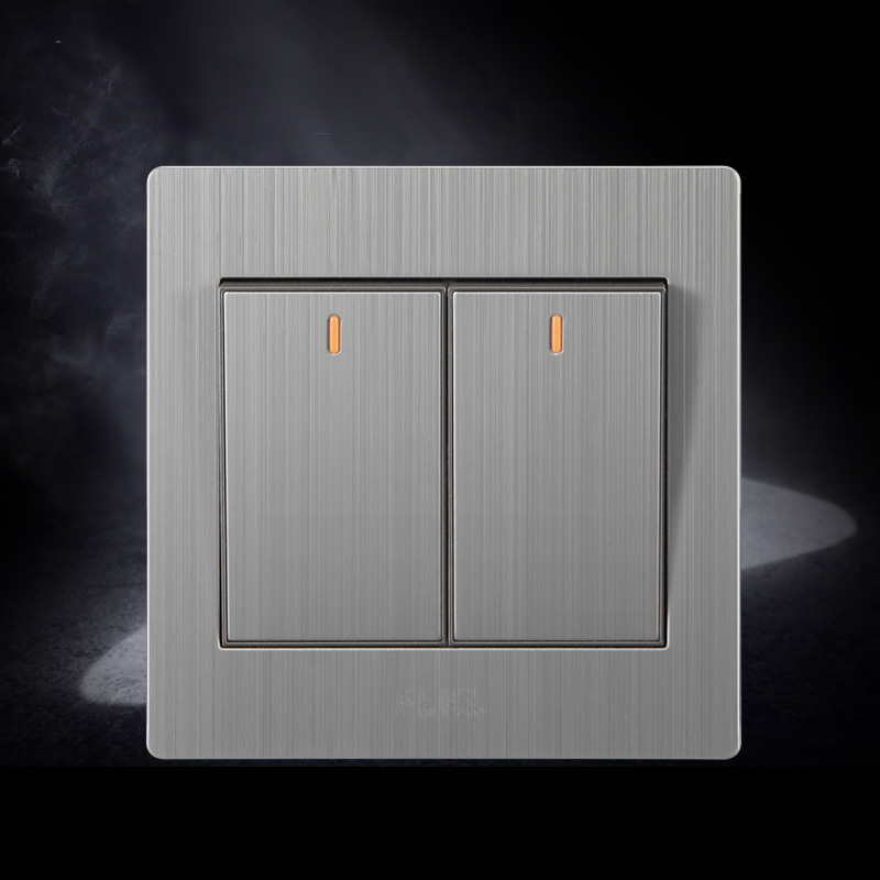 stainless wall switch two gang light switch with indicator