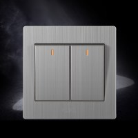 stainless wall switch two gang light switch with indicator ...