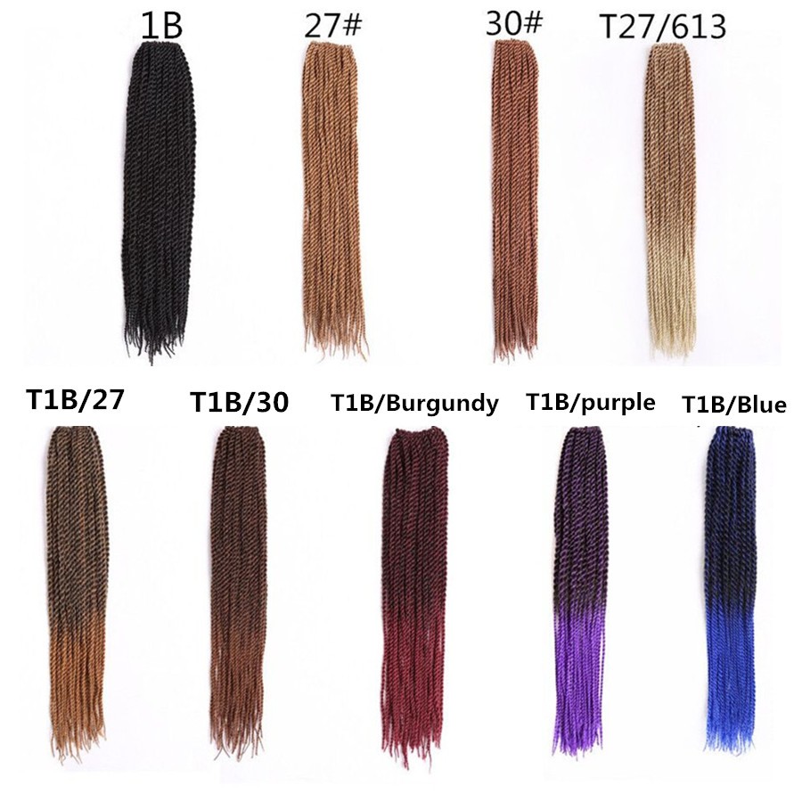 ̿̿̿(•̪ )18 pulgadas crochet senegalés Twist cabello Pelo sintético ...