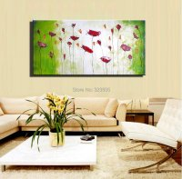 Large decorative cheap wall art abstract poppy green ...