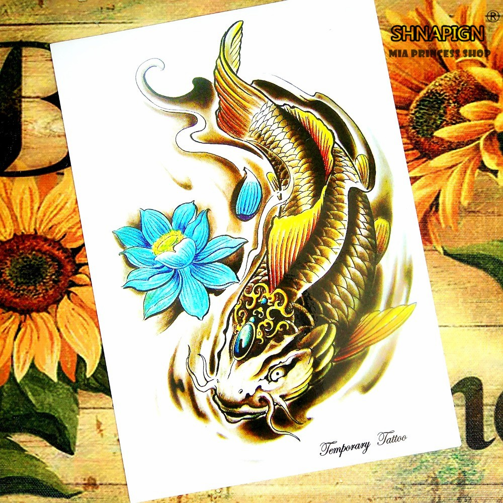 ⑥Golden Koi Temporary Tattoo Body Art Flash Tattoo Stickers 12*20cm ...